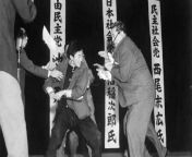 [History] 17-year-old ultranationalist uses a Samurai to kill Japan Socialist Party leader Inejiro Asanuma, Japan, 1960 from sampul nurse japan xxx lesbian sex